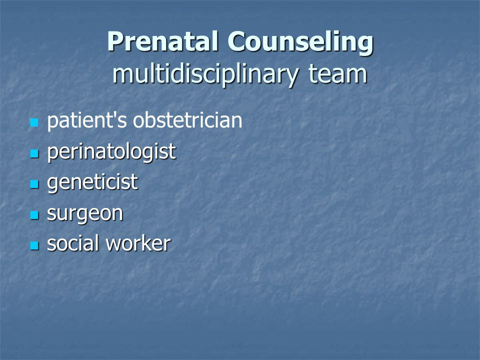 Prenatal Counseling multidisciplinary team