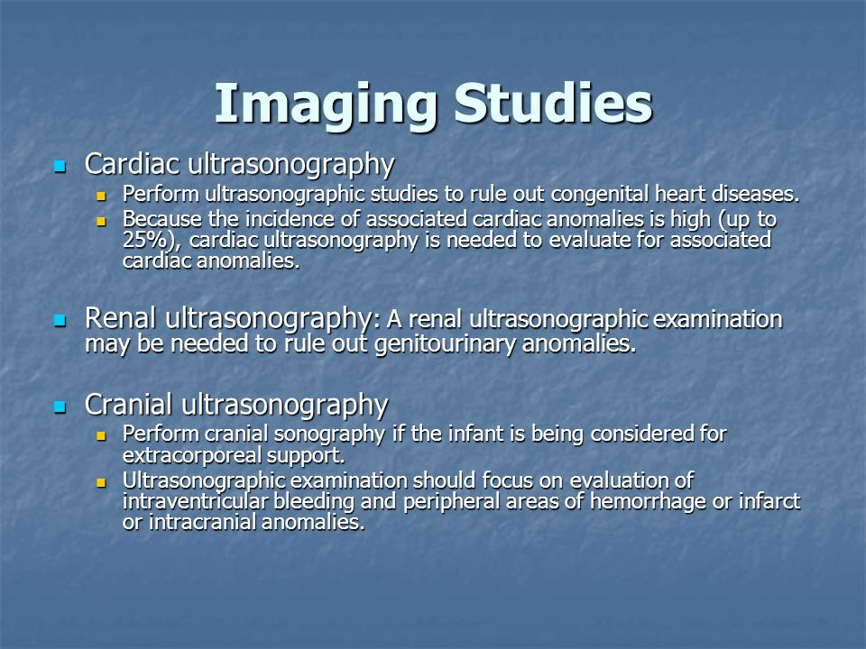 Imaging Studies Cardiac ultrasonography