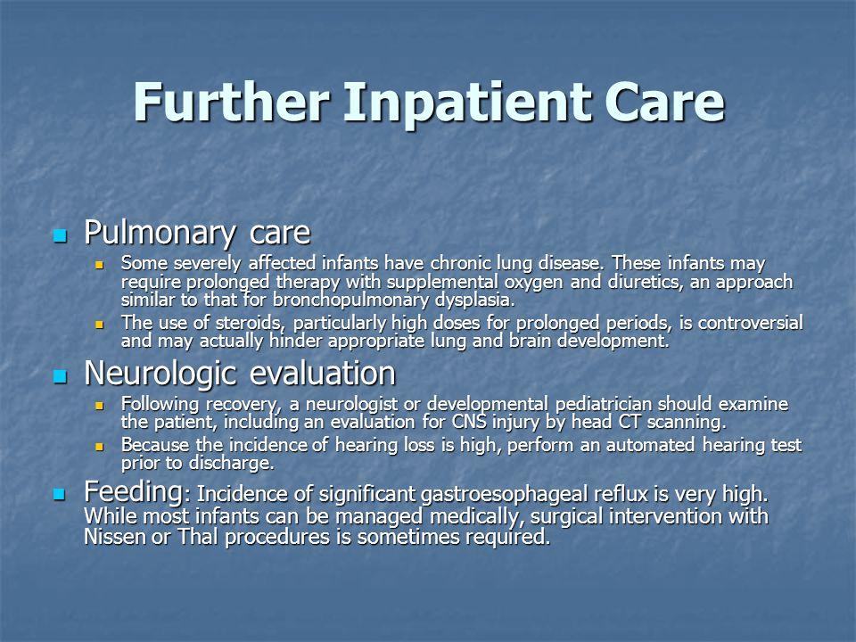 Further Inpatient Care