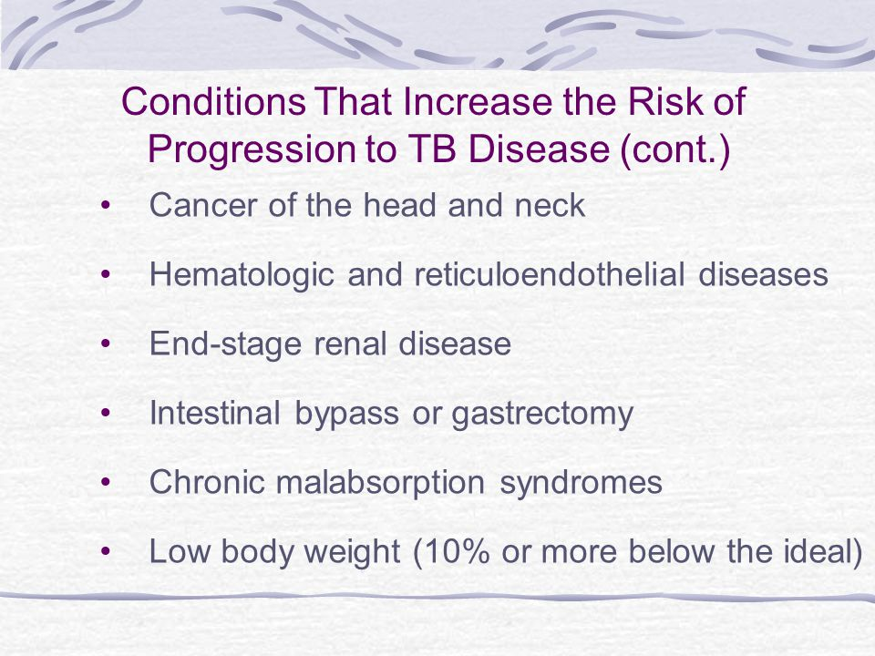 Conditions That Increase the Risk of Progression to TB Disease (cont.)