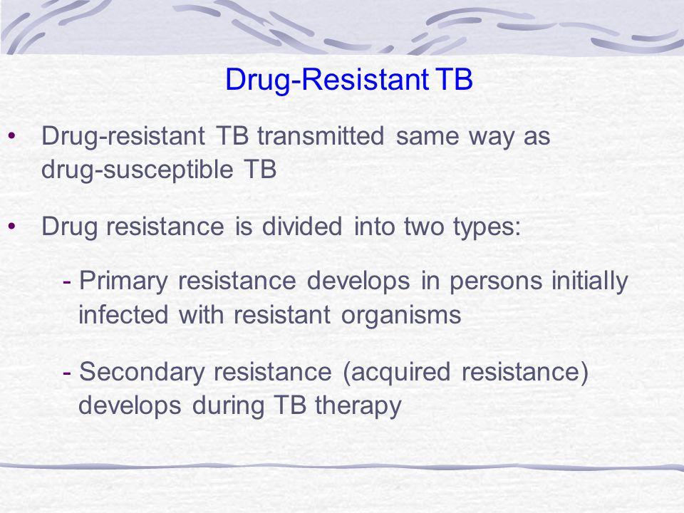 Drug-Resistant TB Drug-resistant TB transmitted same way as
