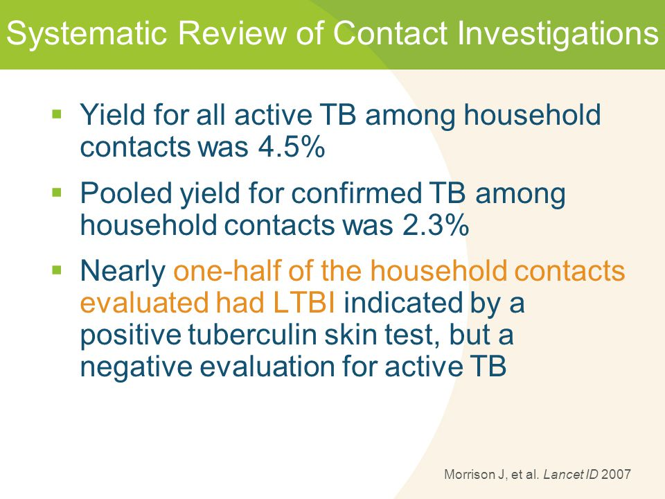 Systematic Review of Contact Investigations