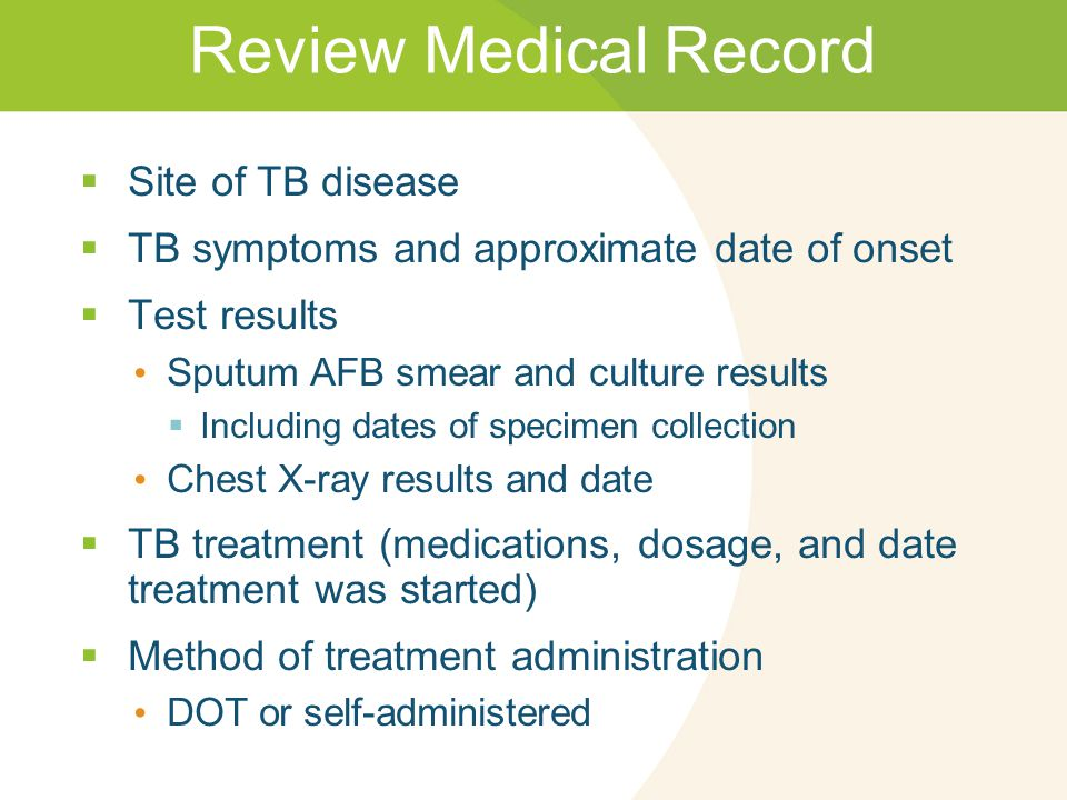 Review Medical Record Site of TB disease