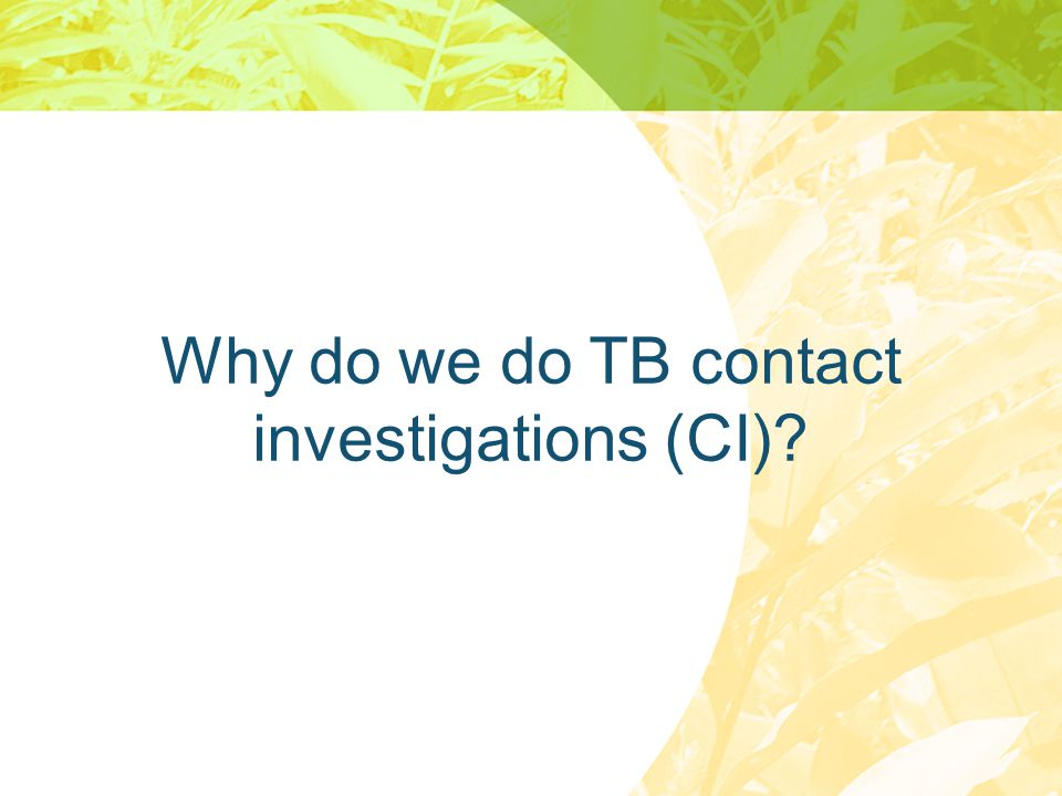 Why do we do TB contact investigations (CI)
