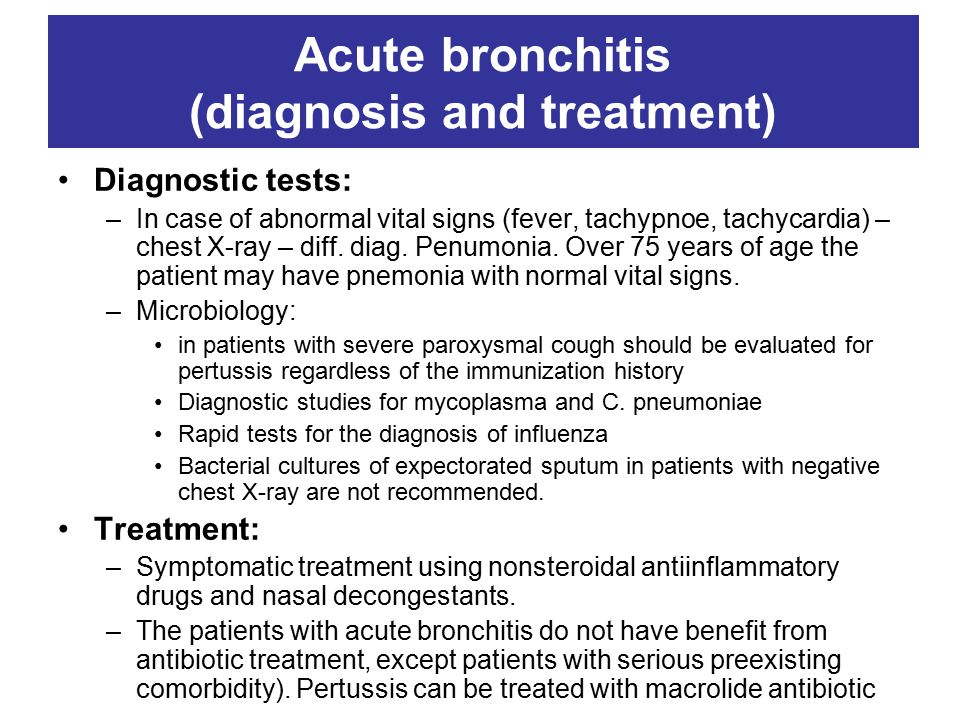 Acute bronchitis (diagnosis and treatment)
