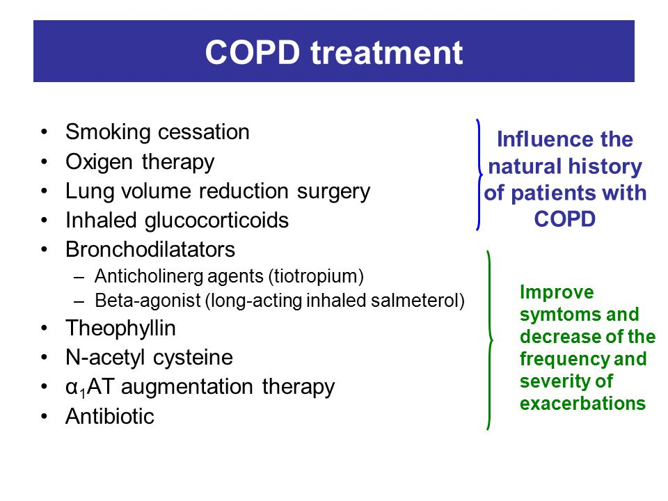Influence the natural history of patients with COPD