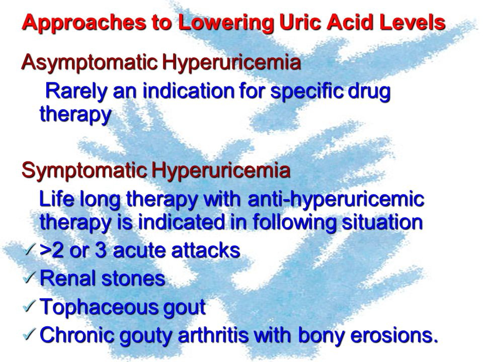 Approaches to Lowering Uric Acid Levels