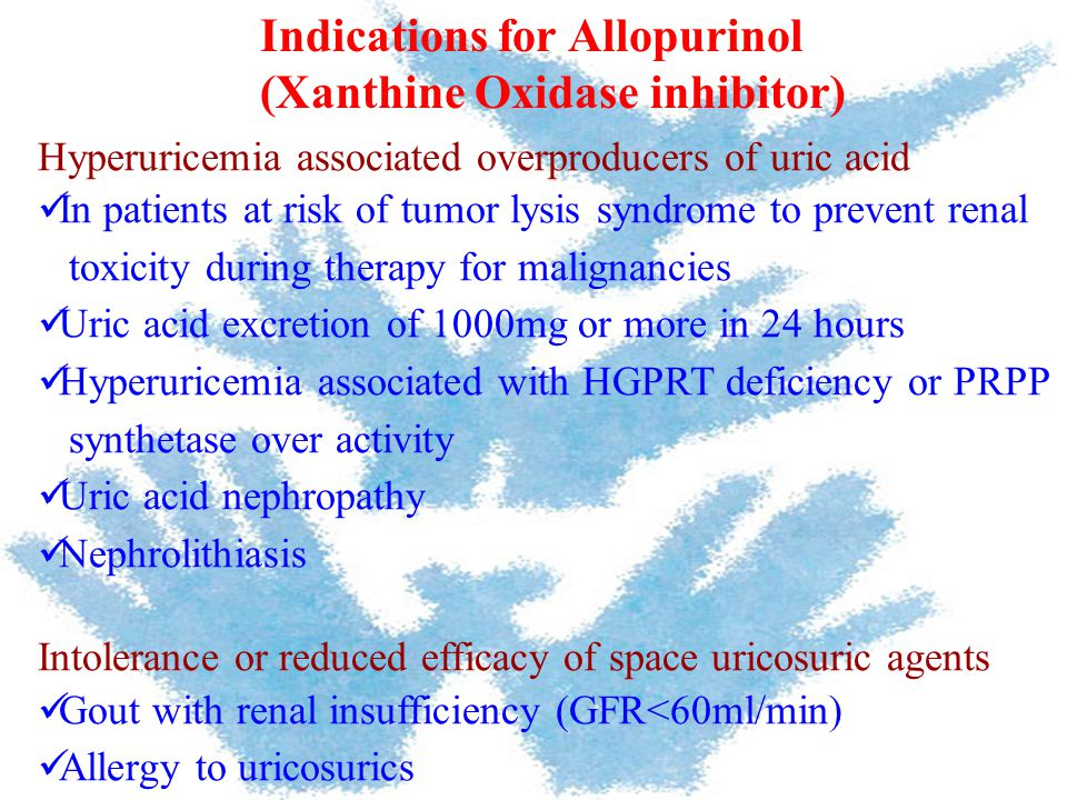 Indications for Allopurinol (Xanthine Oxidase inhibitor)