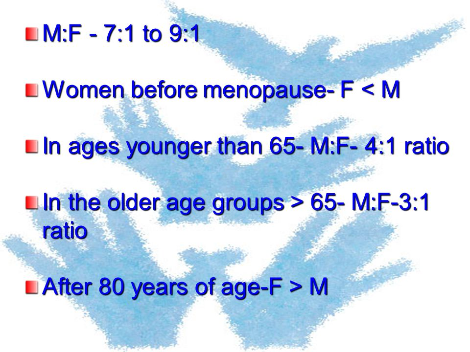 M:F - 7:1 to 9:1 Women before menopause- F < M. In ages younger than 65- M:F- 4:1 ratio. In the older age groups > 65- M:F-3:1 ratio.