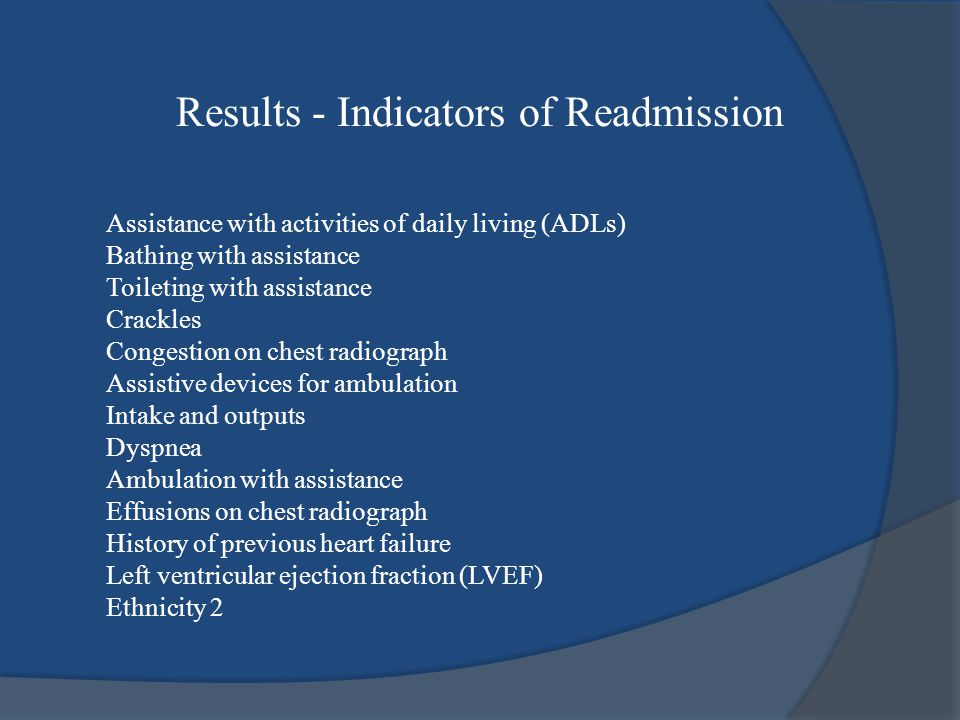 Results - Indicators of Readmission