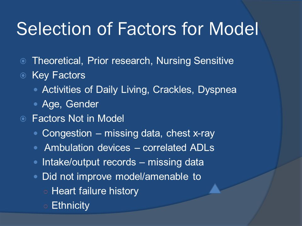 Selection of Factors for Model