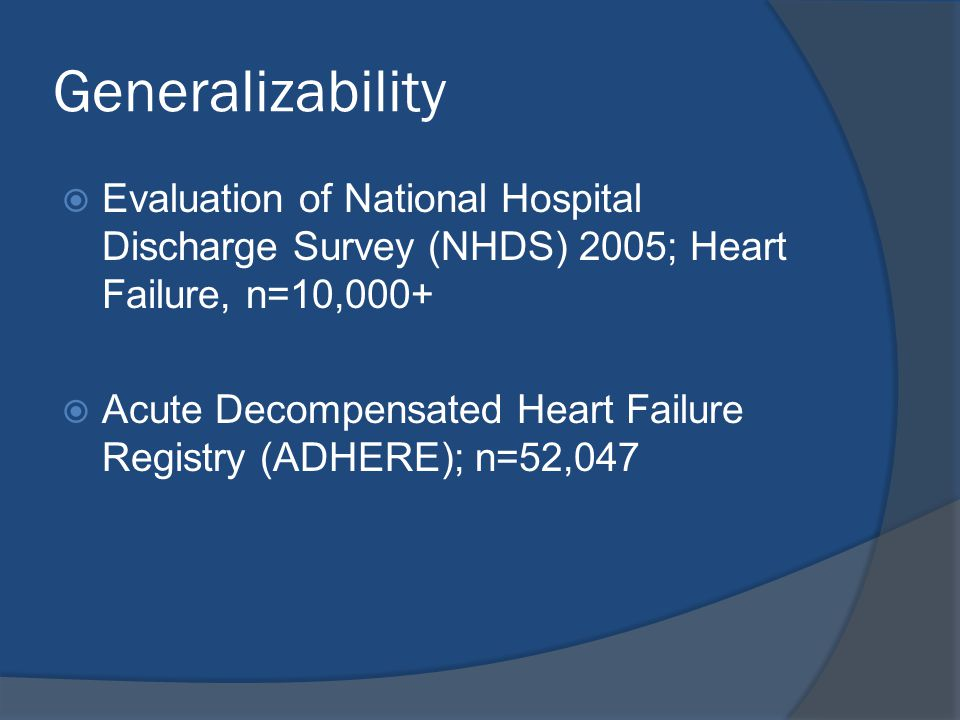 Generalizability Evaluation of National Hospital Discharge Survey (NHDS) 2005; Heart Failure, n=10,000+