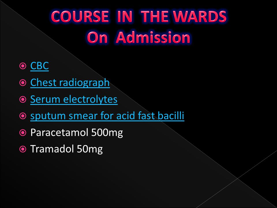 COURSE IN THE WARDS On Admission