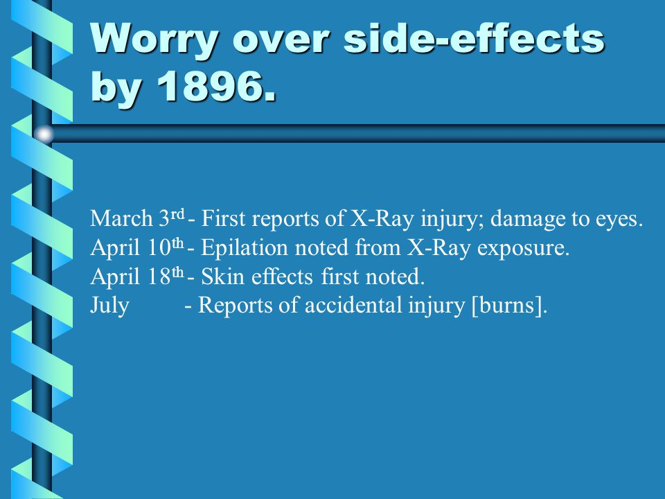 Worry over side-effects by 1896.