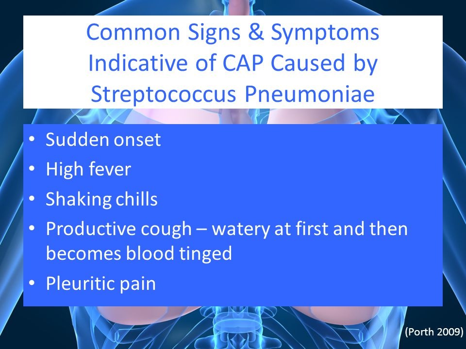 Common Signs & Symptoms Indicative of CAP Caused by Streptococcus Pneumoniae