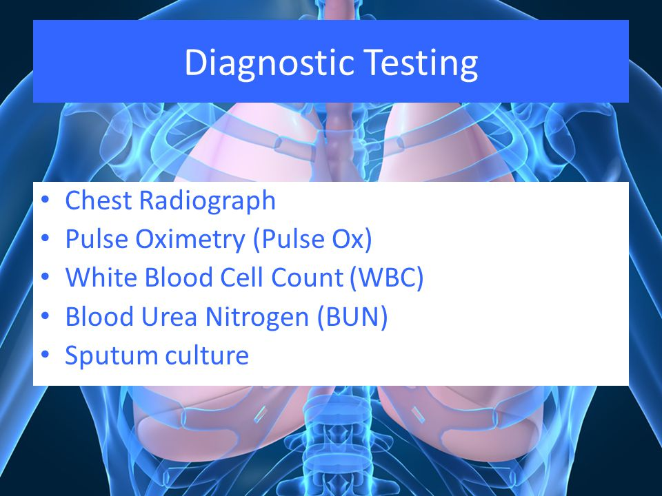 Diagnostic Testing Chest Radiograph Pulse Oximetry (Pulse Ox)