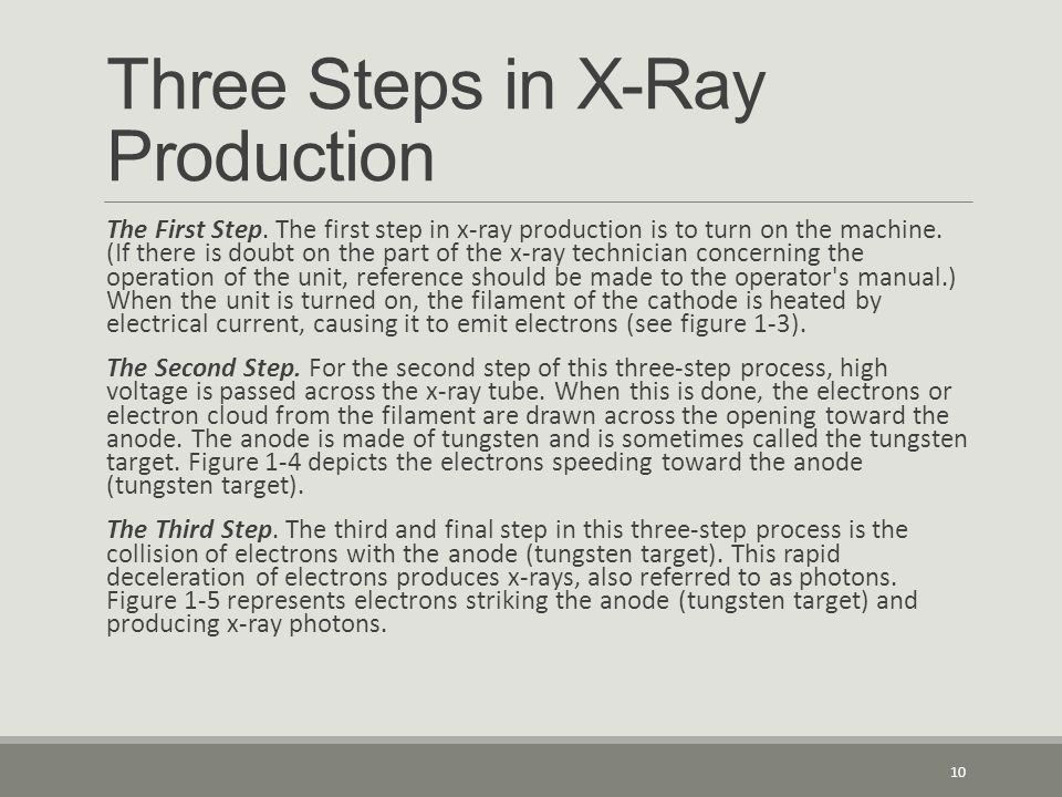 Three Steps in X-Ray Production