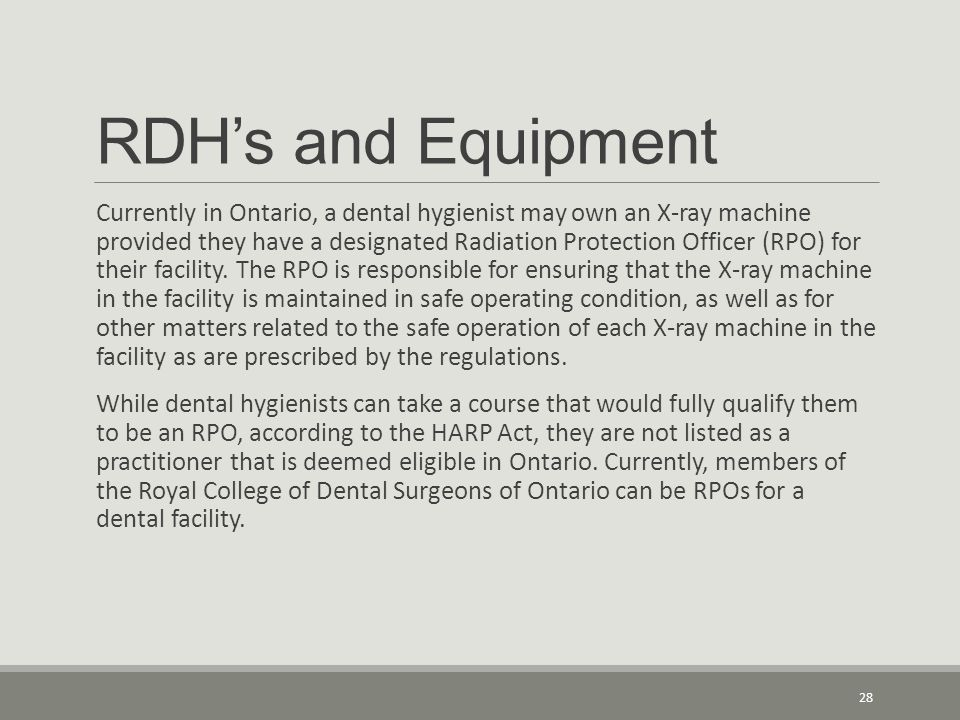 RDH's and Equipment