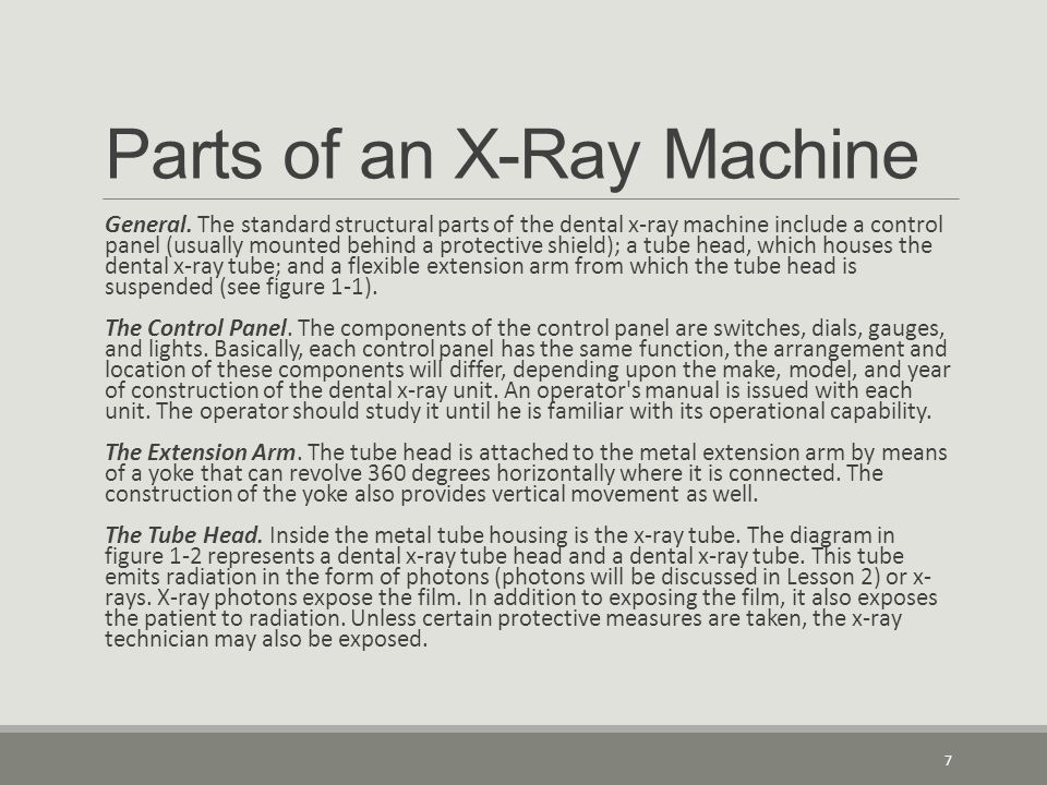 Parts of an X-Ray Machine