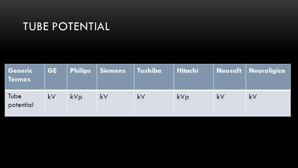 Tube potential Generic Termzs GE Philips Siemens Toshiba Hitachi