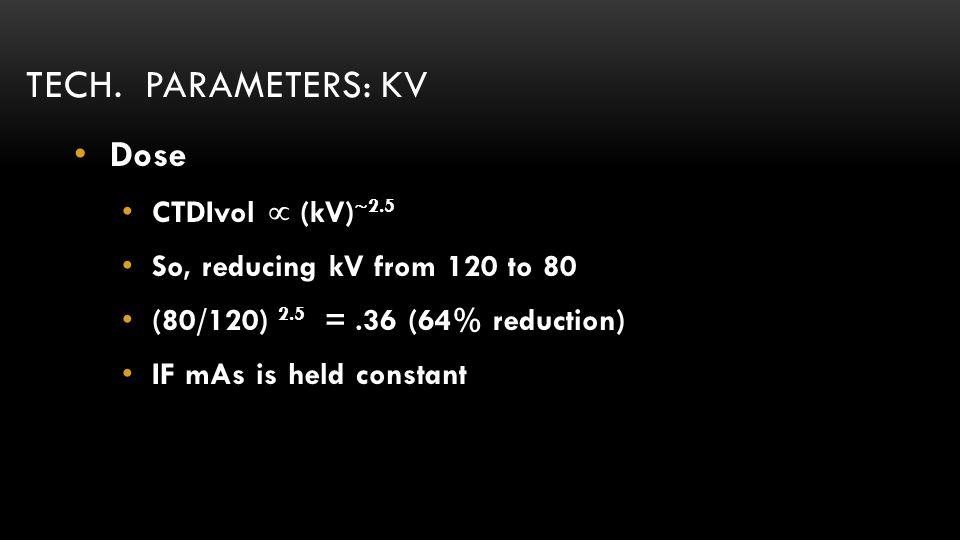 Tech. parameters: kV Dose CTDIvol  (kV)2.5