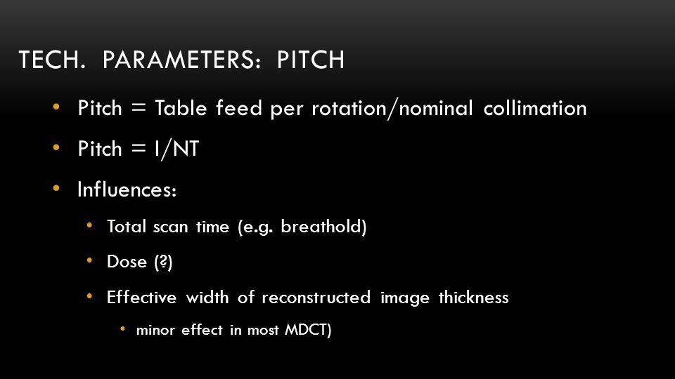 Tech. parameters: Pitch