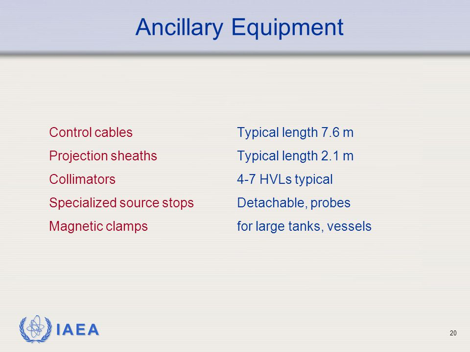 Ancillary Equipment Control cables Typical length 7.6 m