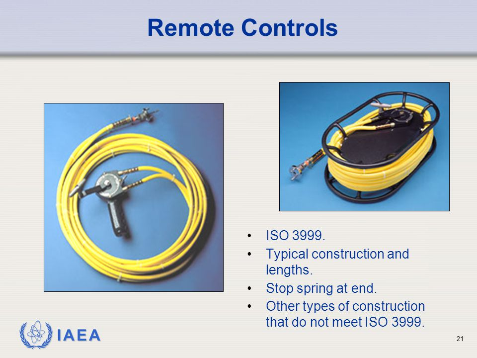 Remote Controls ISO 3999. Typical construction and lengths.