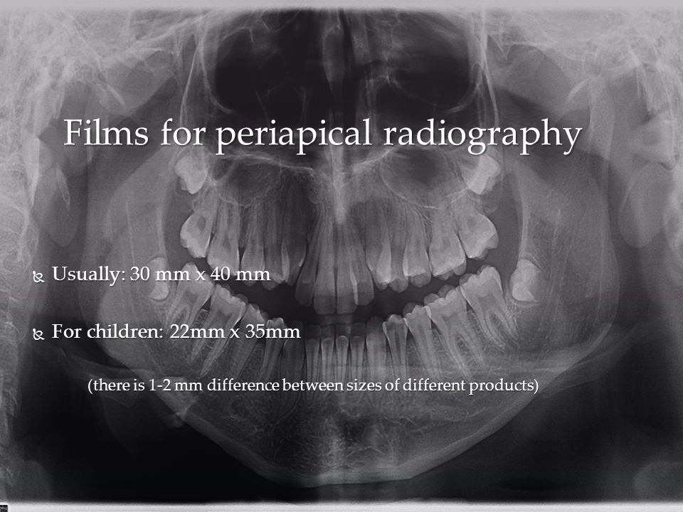 Films for periapical radiography