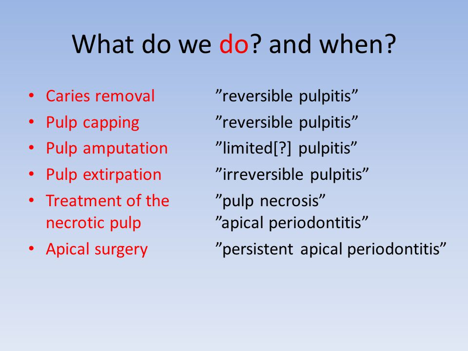 What do we do and when Caries removal reversible pulpitis