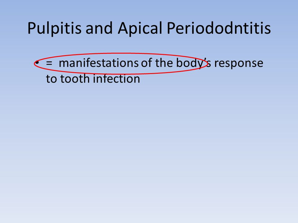 Pulpitis and Apical Periododntitis