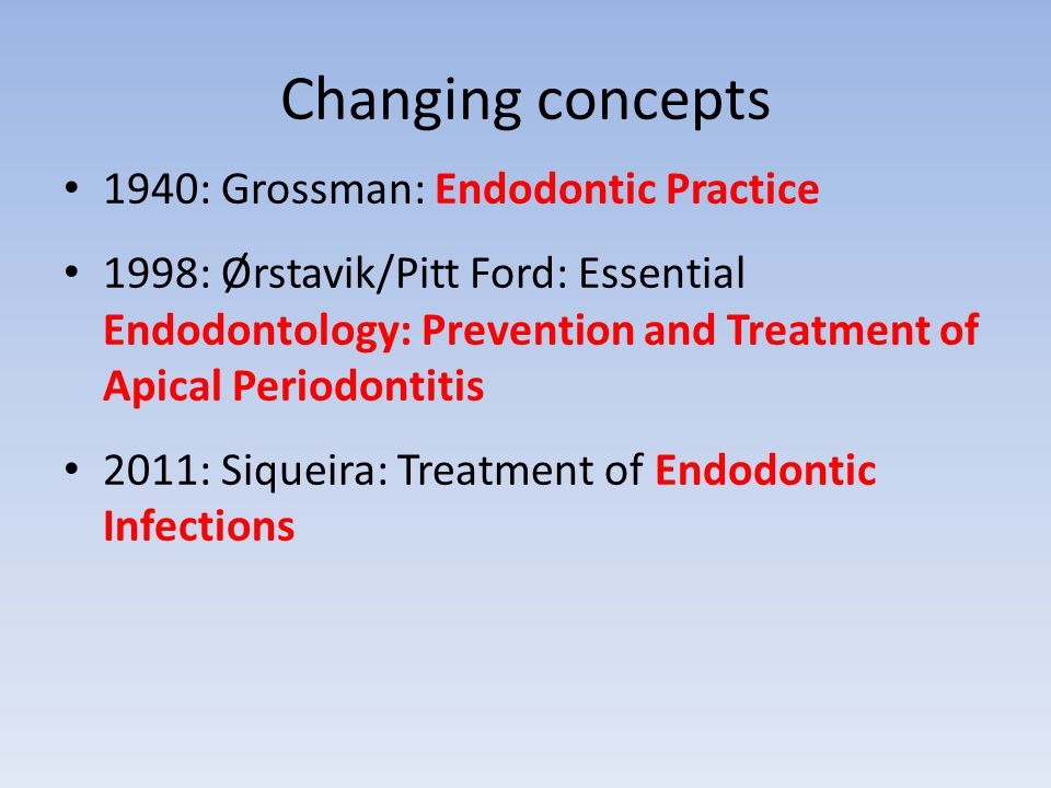 Changing concepts 1940: Grossman: Endodontic Practice