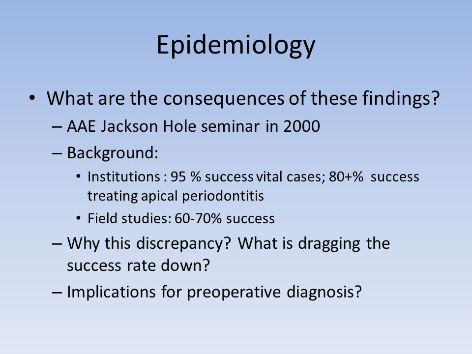 Epidemiology What are the consequences of these findings