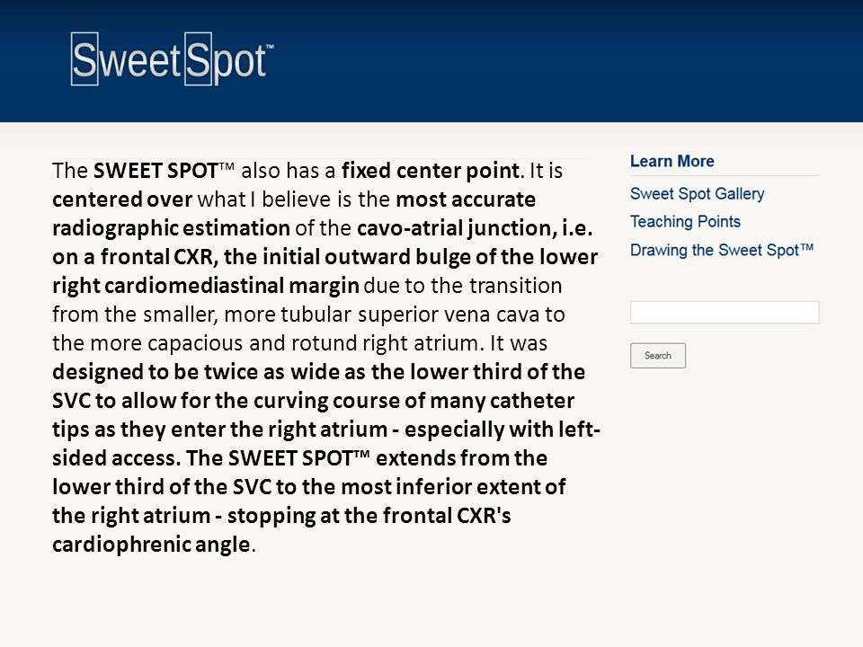 The SWEET SPOT™ also has a fixed center point