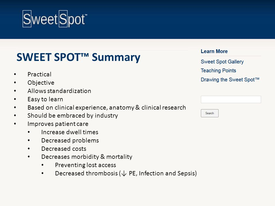 SWEET SPOT™ Summary Practical Objective Allows standardization