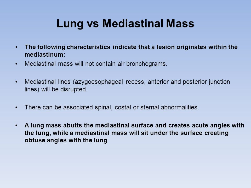 Lung vs Mediastinal Mass