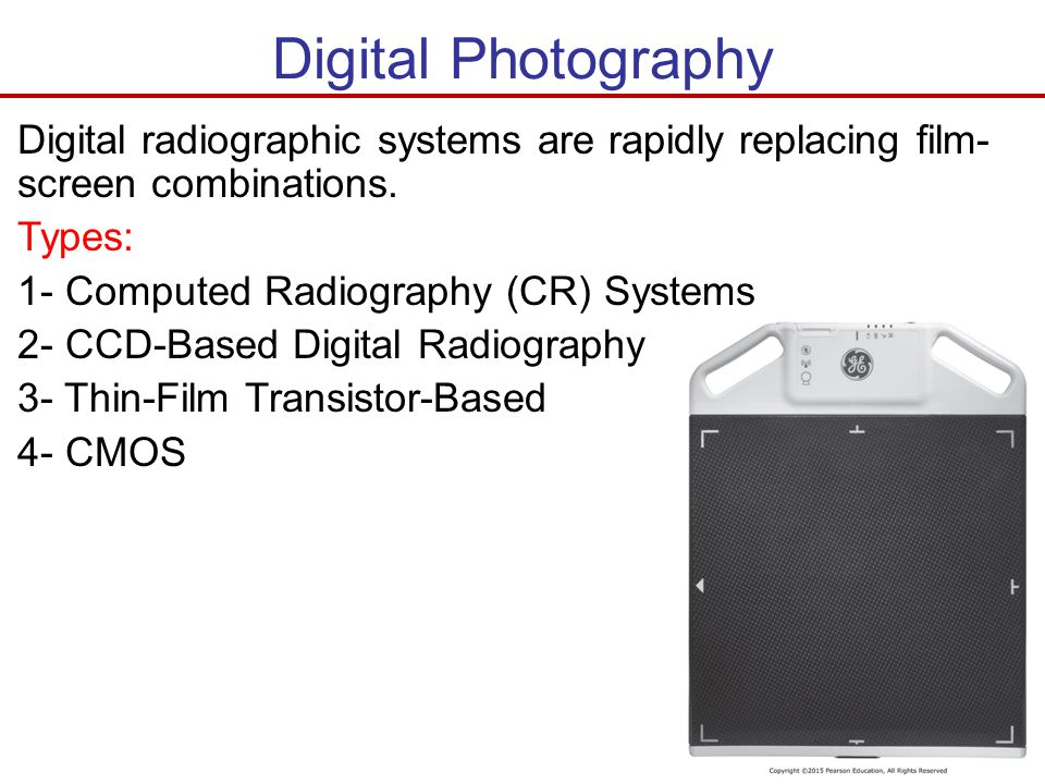 Digital Photography Digital radiographic systems are rapidly replacing film-screen combinations. Types: