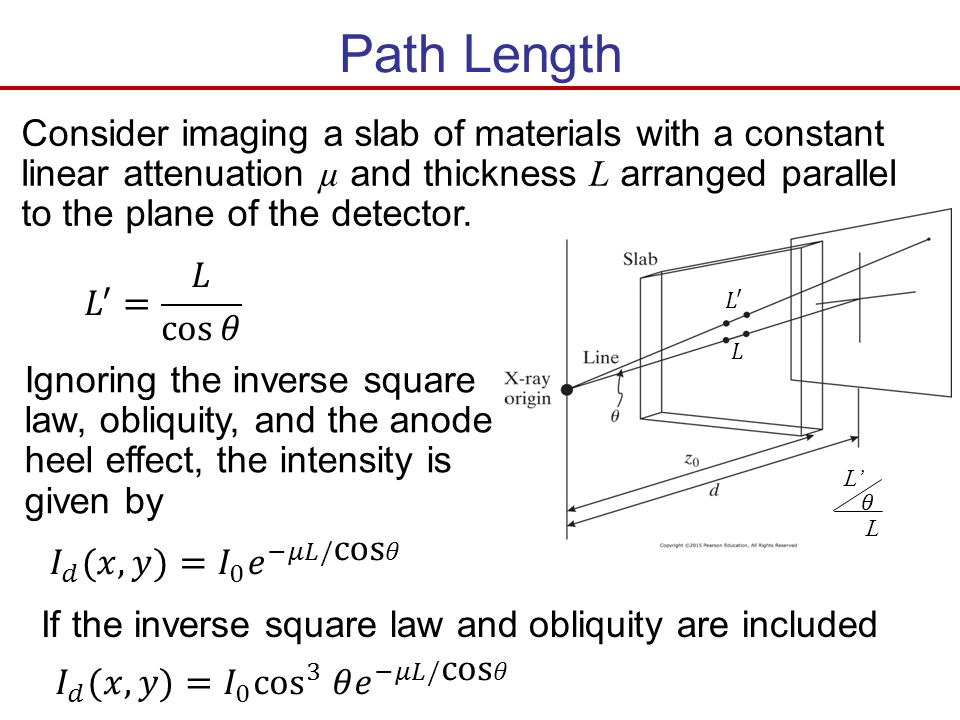 Path Length Consider imaging a slab of materials with a constant linear attenuation µ and thickness L arranged parallel to the plane of the detector.
