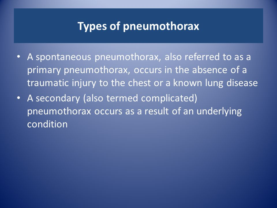 Types of pneumothorax