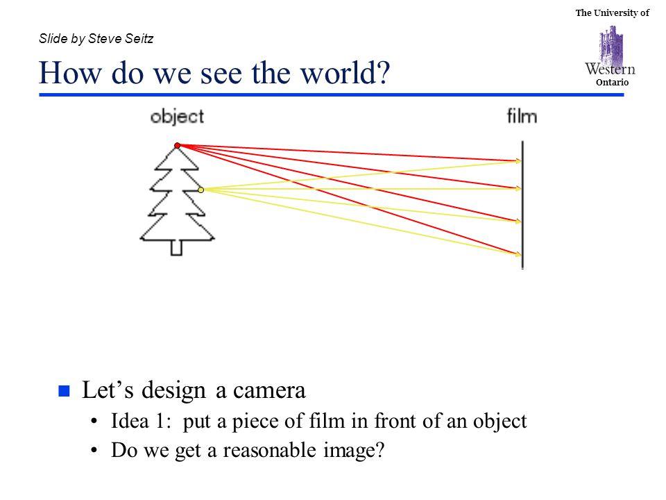 Slide by Steve Seitz How do we see the world
