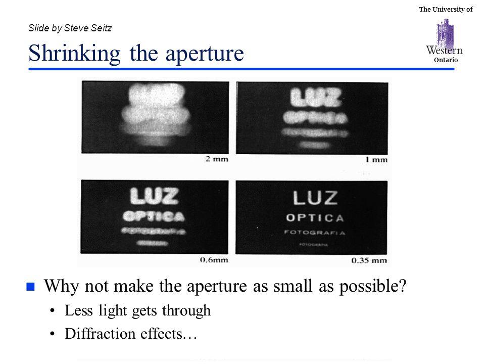 Slide by Steve Seitz Shrinking the aperture