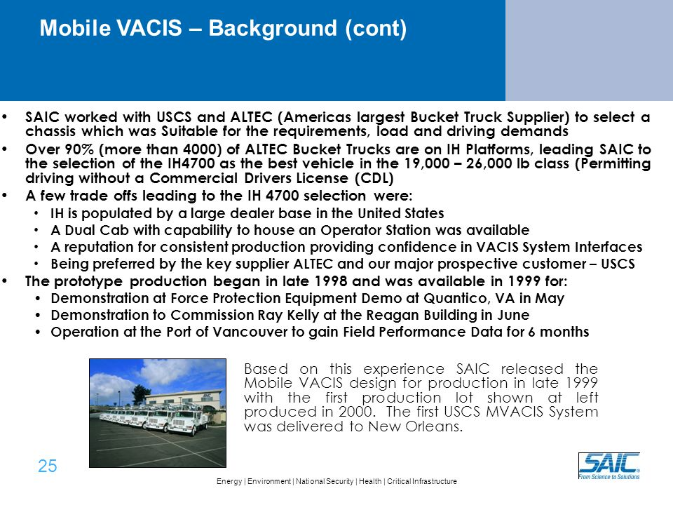Mobile VACIS® Features and Performance