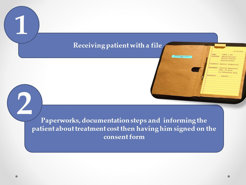 Receiving patient with a file