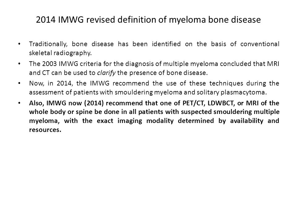 2014 IMWG revised definition of myeloma bone disease