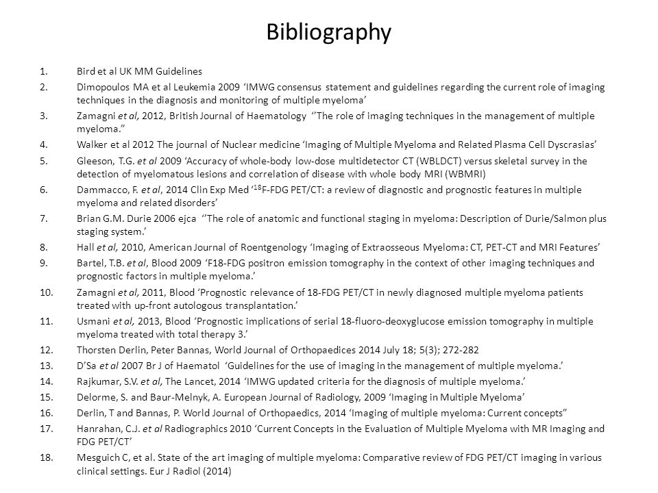 Bibliography Bird et al UK MM Guidelines