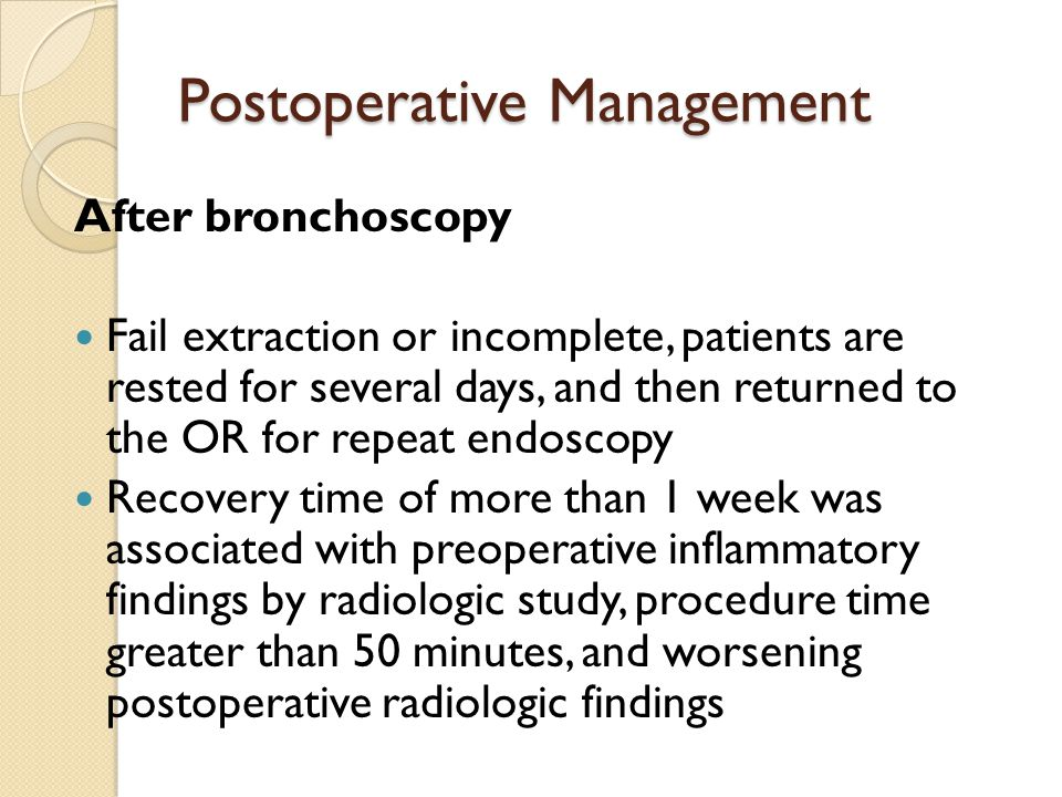 Postoperative Management