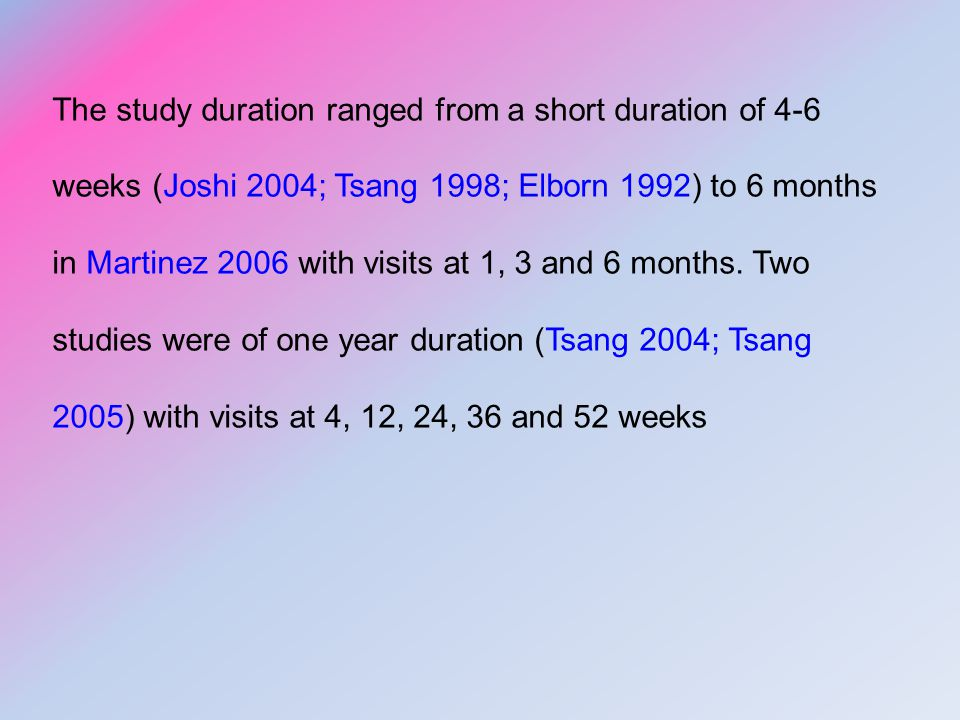 The study duration ranged from a short duration of 4-6 weeks (Joshi 2004; Tsang 1998; Elborn 1992) to 6 months in Martinez 2006 with visits at 1, 3 and 6 months.