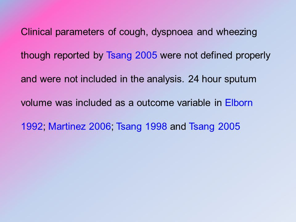 Clinical parameters of cough, dyspnoea and wheezing though reported by Tsang 2005 were not defined properly and were not included in the analysis.