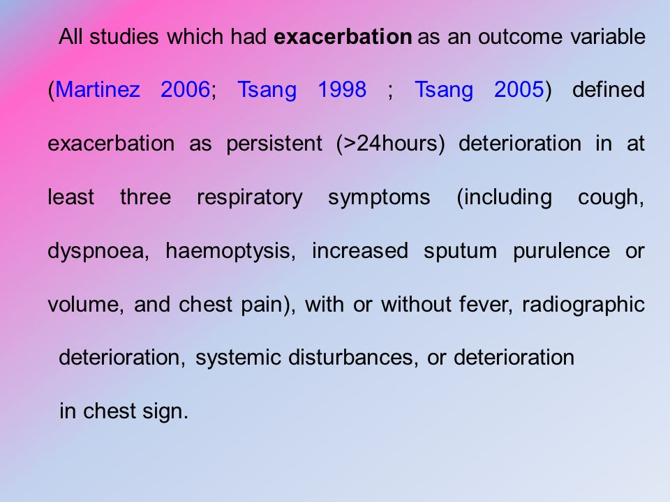 All studies which had exacerbation as an outcome variable