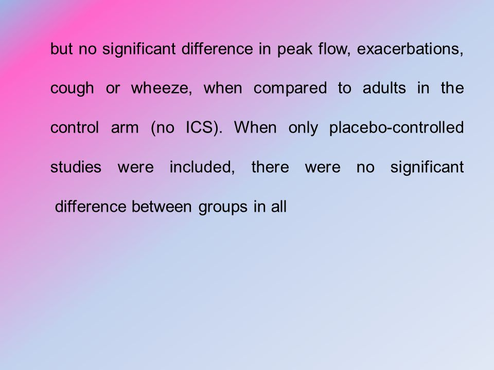 but no significant difference in peak flow, exacerbations, cough or wheeze, when compared to adults in the control arm (no ICS).